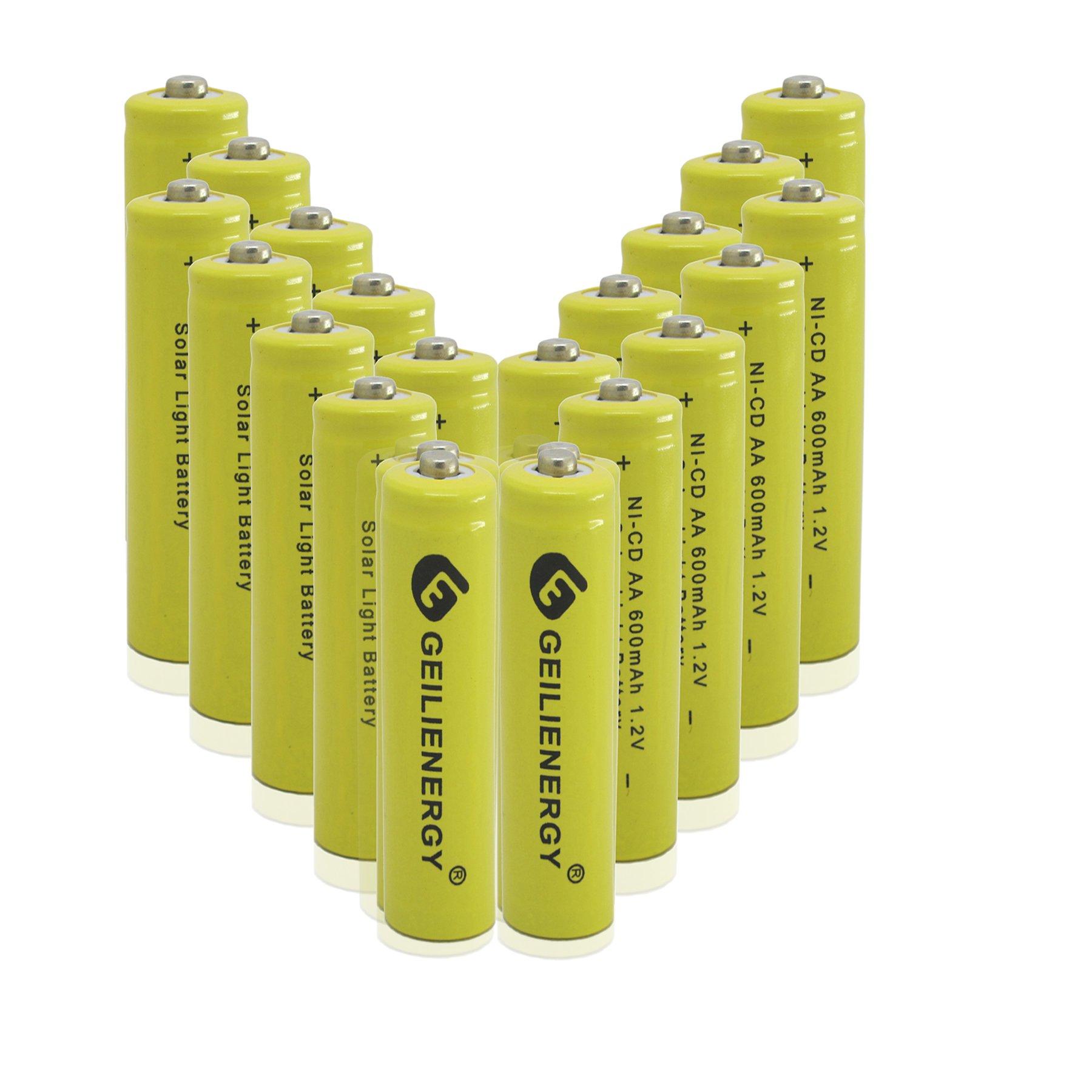 GEILIENERGY Solar Light AA Ni-CD 600mAh 1.2V Rechargeable Batteries AA Rechargeable Batteries for Solar Lights Solar Lamp(Pack of 20)