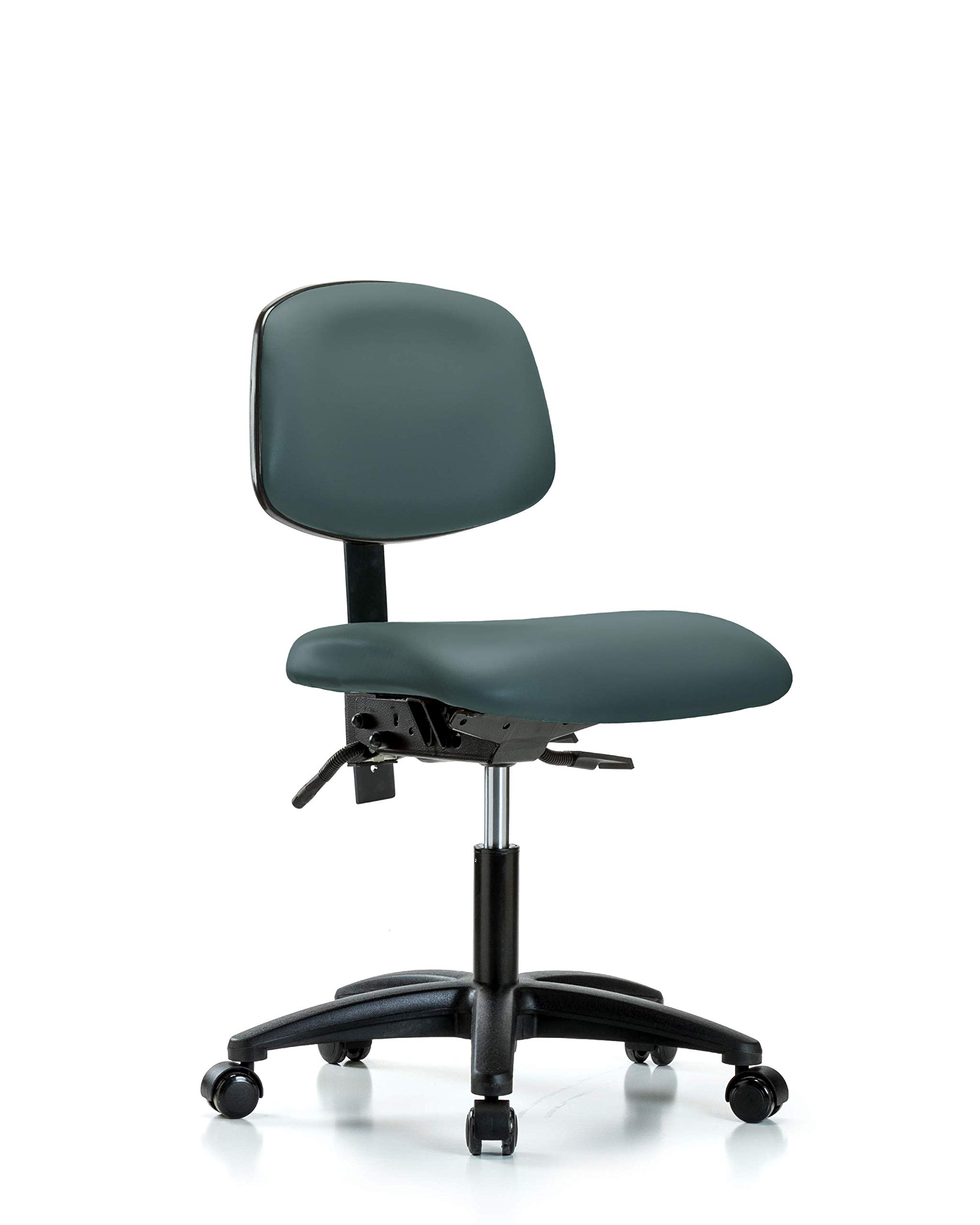 LabTech Seating LT44207 Desk Height Chair, Vinyl, Nylon Base - Casters, Colonial Blue