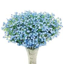 """HANTAJANSS 12 pcs Baby Breath Gypsophila Artificial Flowers Bouquets Fake Real Touch Flowers for Wedding Party Decoration DIY Home Decor 21"""" Blue"""