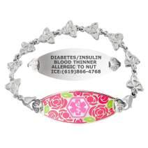Divoti Custom Engraved Medical Alert Bracelets for Women, Stainless Steel Medical Bracelet, Medical ID Bracelet w/Free Engraving – Gorgeous Red Rose Tag w/Trinity Knot – Color/Size