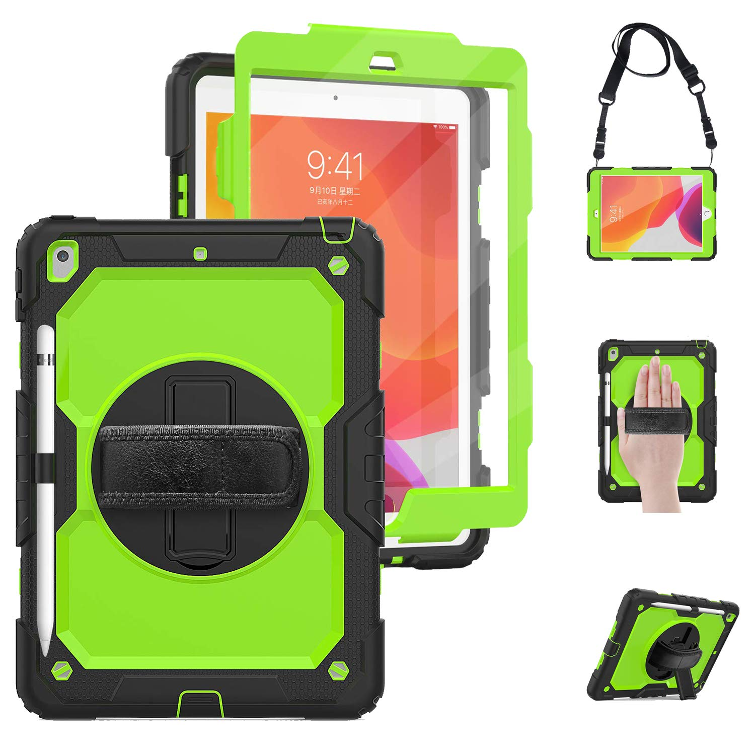 TSQ iPad 10.2 Case with Pencil Holder,[Built-in Screen Protector], Hybrid Dropproof Rugged Protection Defender Case with Stand/Hand Handle Strap for iPad 7th Generation A2197/A2198/A2200,Green+Black