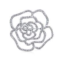 Bling Jewelry Bridal Pave Cubic Zirconia CZ Large Flower Rose Brooch Pin for Women Silver Plated Brass