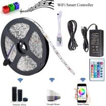 Lymxxl Smart Wifi Wireless Led Strip Light, Smart Phone Remote Controlled Strip Light Kit RGB 16.4Ft(5m) PCB 5050 300LEDS Strip Light Working with Amazon Alexa Google Home Android iOS (Wifi RGB Strip)