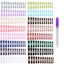 Umillars 384pc Matte Pure Color Coffin False Nails Artificial Fake nails Full Cover Fingernails 16 Colors & 12 Sizes Nail Tips Kit with One Crystal Nail File for Nail Art Salon DIY Decoration