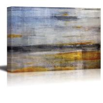 wall26 - Abstract Painting of The Ocean Shore and The Sea with Yellow and Blue Stripes Over It - Canvas Art Home Decor - 24x36 inches