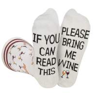Grey Bring Me Wine Socks Men and Women, If You Can Read This Luxury Wine Lover Gift