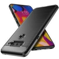 Aeska LG V40 ThinQ Case, Ultra [Slim Thin] Soft Skin Silicone Flexible TPU Anti-Fingerprint Carbon Fiber Pattern Shock Absorption Anti-Scratches Protective Cases Cover for LG V40 (Black)