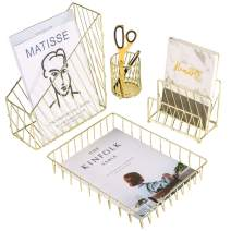 Nugorise 4 in 1 Desk Accessories Organizer, File Holder, Mail Sorter, Pen Holder and Paper Tray, Decorative Wire Home Office Supplies Storage Rack, Gold