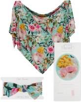 Posh Peanut Baby Swaddle Blanket - Large Premium Knit Baby Swaddling Receiving Blanket and Headband Set, Baby Shower Newborn Gift (Tuscan Teal)