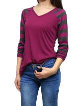 Allegra K Women's Long Raglan Sleeves V Neck Striped Tops