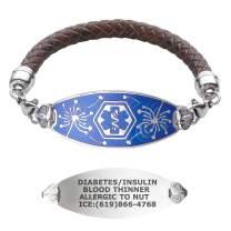 Divoti Custom Engraved Medical Alert Bracelets for Women, Stainless Steel Medical Bracelet, Medical ID Bracelet w/Free Engraving – Wishful Dandelion Tag w/Brown Braided Leather – Color/Size