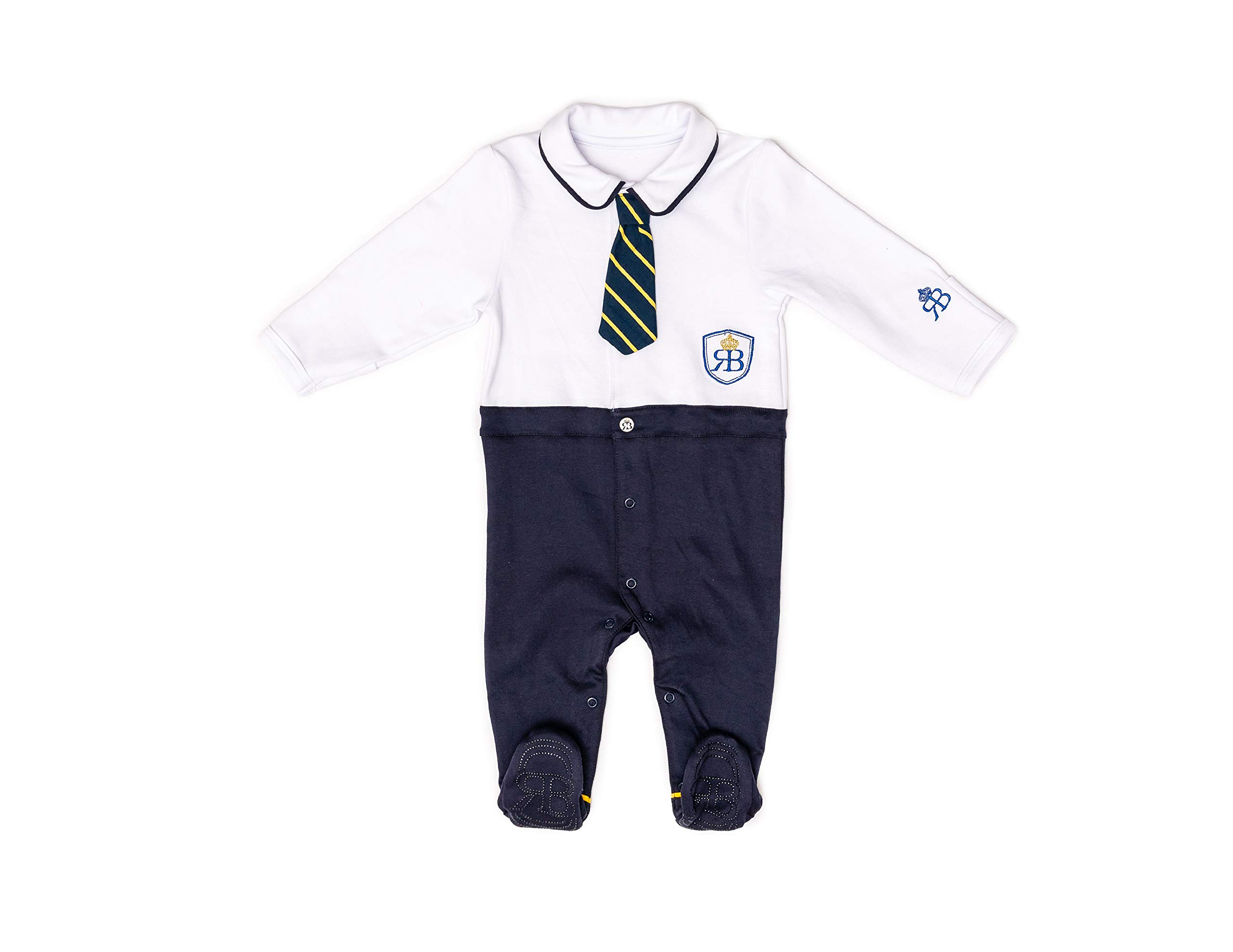 RB Royal Baby Organic Cotton Gloved-Sleeve Footed Overall, Footie (Little Man) White Navy