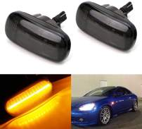 iJDMTOY Smoked Lens Amber Full LED Fender Side Marker Light Kit Compatible With JDM Spec Honda/Acura RSX Integra Civic EP3 Replace OEM Amber Sidemarker Lamps