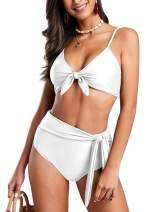 imesrun Womens Sexy Knot Front Bikini High Waisted Bathing Suit Padded 2 Pieces Swimsuits