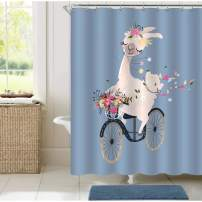 "MitoVilla Romantic Llama Shower Curtain Set with Hooks, Cartoon Animal Alpaca Driving a Vintage Bicycle with Flower Bouquet Artwork for Baby Kids Bathroom Decor, Grey Blue, 72"" W x 72"" L for Bathtub"