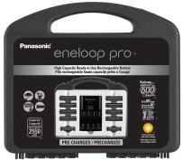 """Panasonic K-KJ17KHC82A eneloop pro High Capacity Power Pack, 8AA, 2AAA, with""""Advanced"""" Individual Battery Charger and Plastic Storage Case"""