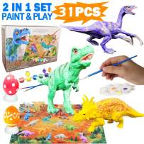 Yileqi 31pcs Kids Dinosaur Painting Kit with Play Mat, Create Your Own Dinosaur World Paintable Dinosaur Figures, DIY Animal Set Dinosaur Toys Art and Crafts for Boys Girls Age 4 5 6 7 8 9 10 Year Old