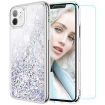 Maxdara Case for iPhone 11 Case Glitter Liquid for Women Girls (Screen Protector) Bling Shiny Sparkle Luxury Pretty Soft TPU Phone Case for iPhone 11 6.1 inches (Silver)