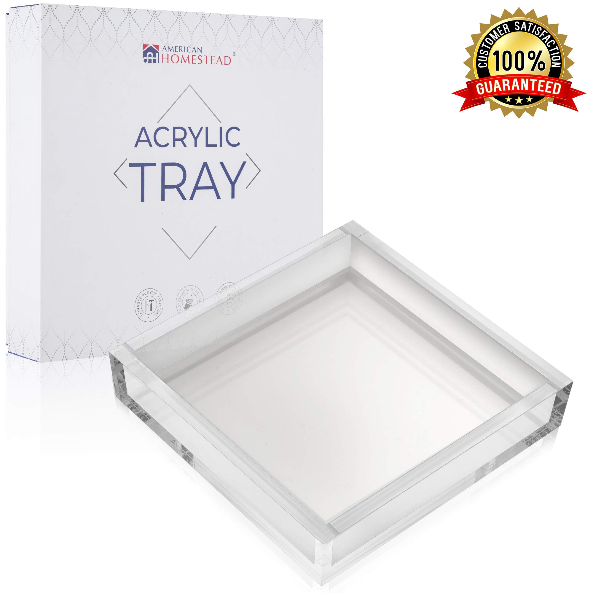 """AH AMERICAN HOMESTEAD Clear Acrylic Tray, Paper Napkin Holder for Tables - Vanity Trays For Bathroom, Kitchen Countertops, Dining Tables – Makeup Vanity Perfume Tray – 7.5""""x7.5"""" Luncheon Napkins Caddy"""