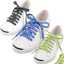 JUEQI Gradient Flat Shoelaces, Novelty Letter Print Athletic Laces for Sneakers Replacements