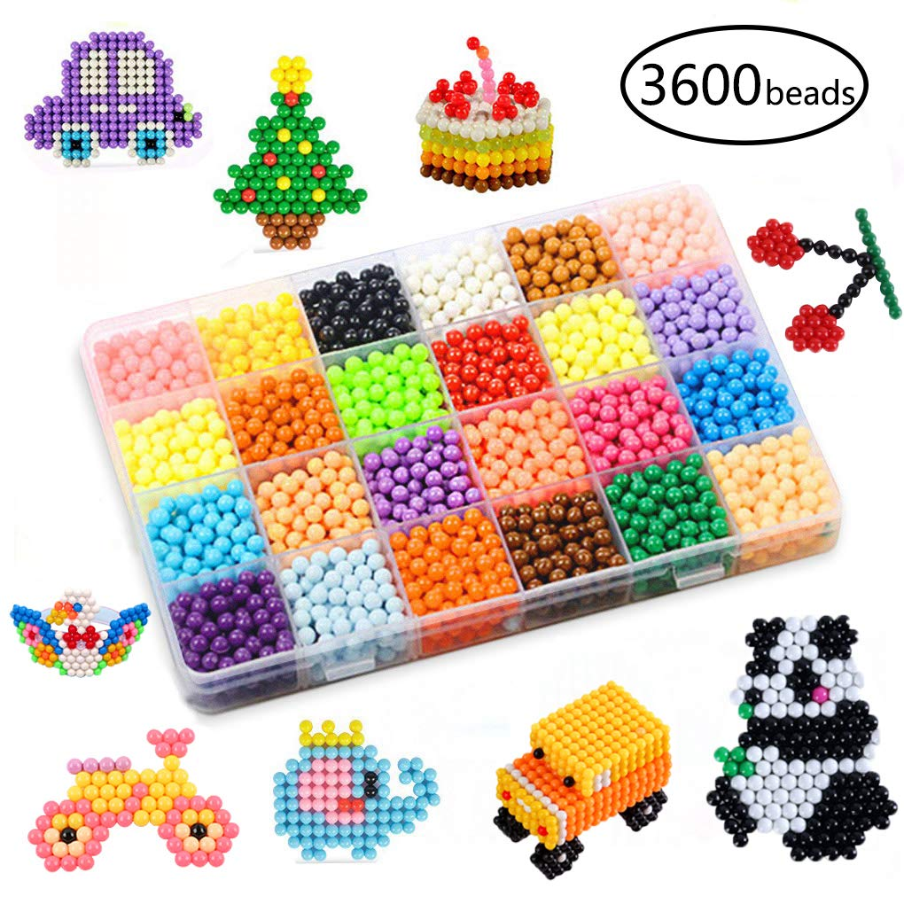 Water Fuse Beads Kit 5mm 24 Colors 3600 Beads Refill kit Compatible Beados Magic Water Sticky Beads Art Crafts Toys for Kids Beginners (3600+ Beads Complete Set)