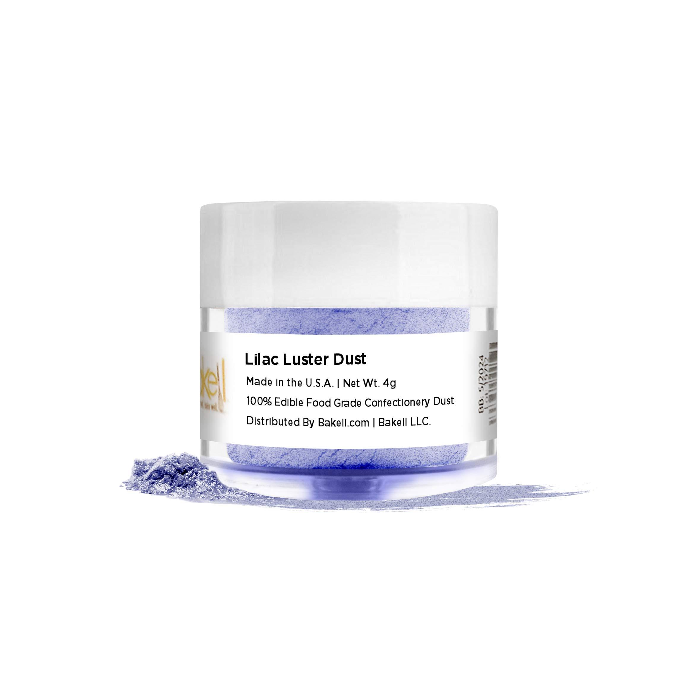 BAKELL Lilac Purple Edible Luster Dust & Paint, 4 Gram | LUSTER DUST Edible Powder | KOSHER Certified Paint, Powder & Dust | 100% Edible & Food Grade| Cakes, Cupcakes, Vegan Dust (Lilac Purple)