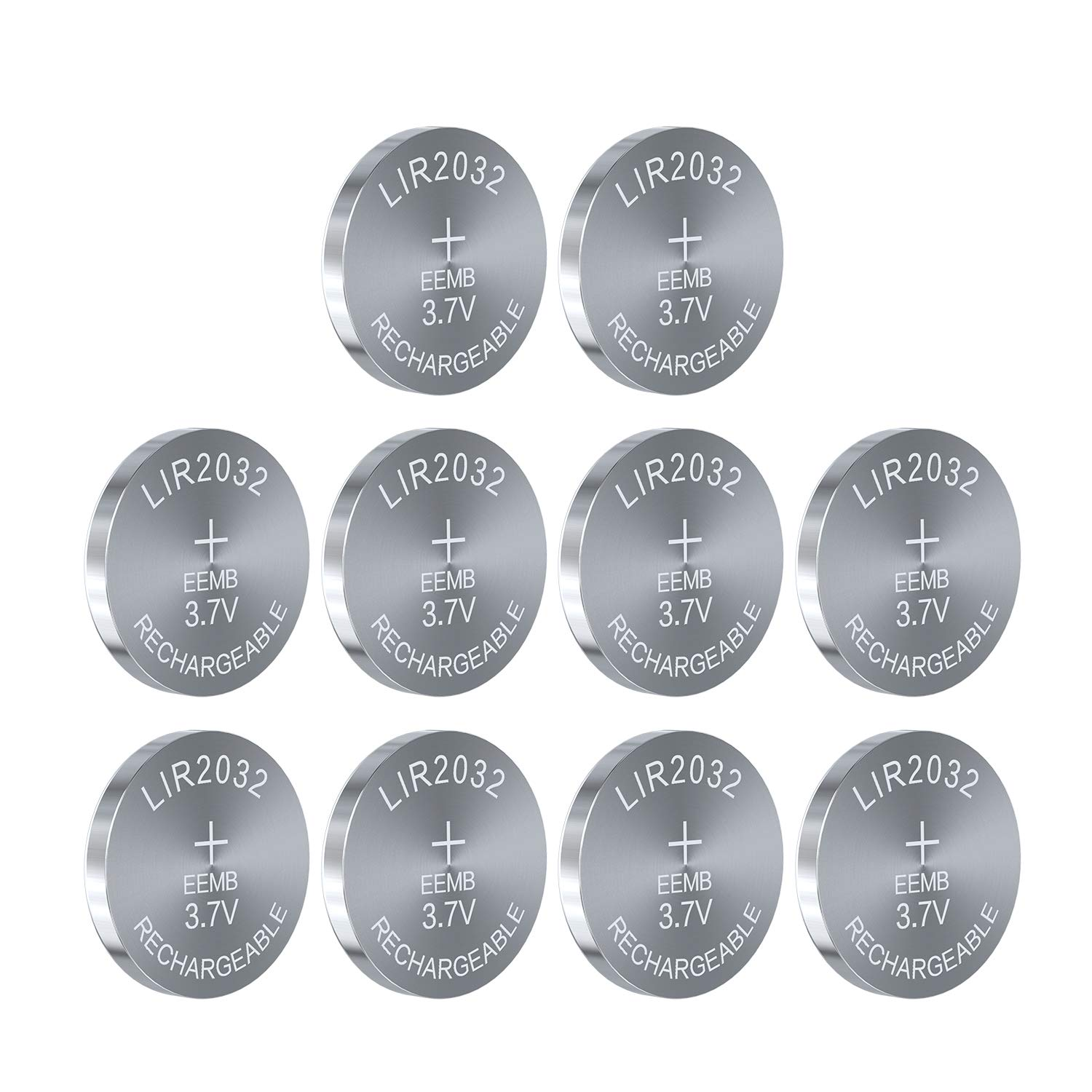 3.7V 45mAh LIR2032 Rechargeable Cell Li-ion Button Battery UL Certified for Bluetooth Earphone Light Game Controllers (10PCS)