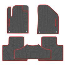 San Auto Car Floor Mat for Jeep Cherokee 2014-2015-2016-2017-2018-2019 Custom Fit Black/Red,Rubber Auto Floor Liner Mat All Weather Heavy Duty & Odorless