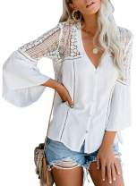 Biucly Womens Casual Solid V Neck Patchwork Lace Down Bell Long Sleeves Shirts Tops Loose Pullover Blouse(S-2XL)