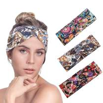 Urieo Boho Wide Headbands Colorful Vintage Floral Hair Bands Yoga Criss Cross Non Slip Stretchy Head Wraps Workout Sport for Women and Girls (Pack of 3)