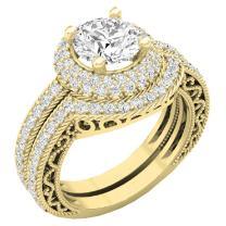 Dazzlingrock Collection 4.40 CT 14K Gold Halo Round Cubic Zirconia CZ Wedding Bridal Engagement Ring Set