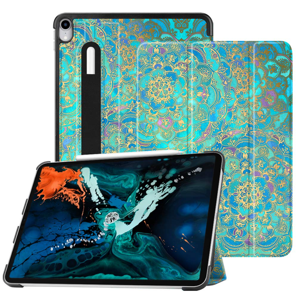 """Fintie SlimShell Case for iPad Pro 12.9"""" 3rd Gen 2018 [Supports 2nd Gen Pencil Charging Mode] - Lightweight Stand Cover with [Secure Pencil Holder] Auto Sleep/Wake, Shades of Blue"""