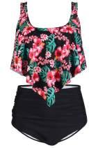 Byoauo Womens High Waist Bikini Swimsuits Two Piece Thin Shoulder Straps Plus Size Swimwear