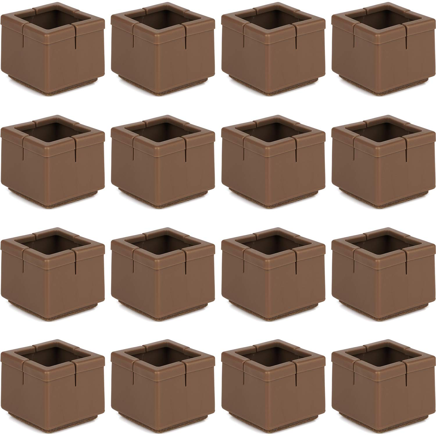 """Anwenk 16Pack Square Chair Leg Caps Furniture Leg Floor Protectors 1 1/4 to 1 3/8"""" with Felt Pads, Color Brown"""