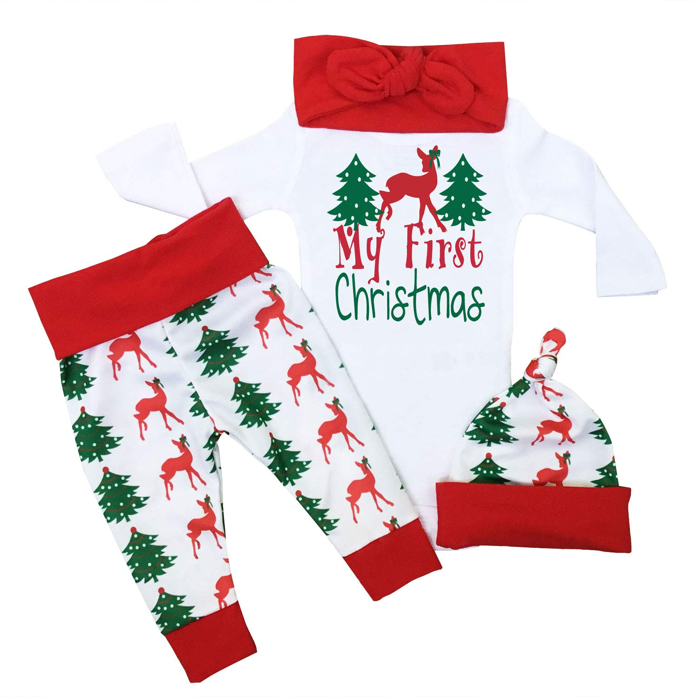 Baby Boy Girl Christmas Outfit My First Christmas Pajamas Romper Bodysuit Onesie Deer Christmas Tree Print Pants