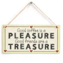 "Meijiafei Good Coffee is a Pleasure Good Friends are a Treasure - Coffee & Friends Gift Love Heart Frame Sign 10"" X 5"""