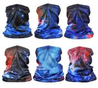 6 Pieces Sun UV Protection Neck Gaiter Scarf Cover Breathable Cooling Face Bandana for Summer Cycling Hiking Fishing