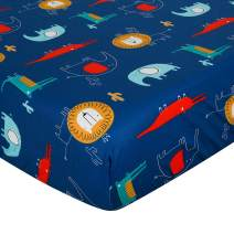 UOMNY Crib Sheet 100% Cotton Crib Fitted Sheets Baby Sheet Standard Crib Toddler Sheet 28 x 52 Inch for Boys and Girls 1 Pack Lion Crib Sheet Blue