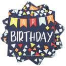 JAM PAPER Birthday Party Beverage Napkins - 5 x 5 - Blue Banner - 16 Napkins/Pack
