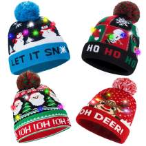 LED Light-up Beanie Knit Christmas Hat Ugly Knitted Sweater Xmas Party Skull Beanie