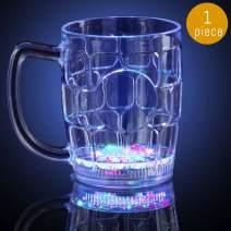 "Lumistick LED Beer Mug 4.25"" | Light Up Fun Multi Color Flashing Drinkware Glowing Night Party Beverage Mug (1 Mug)"