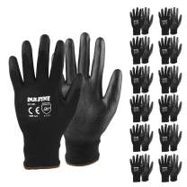 Ultra-Thin PU Coated Work Gloves-12 Pairs,Excellent Grip,Nylon Shell Black Polyurethane Coated Safety Work Gloves, Knit Wrist Cuff,Ideal for Light Duty Work. (Medium)