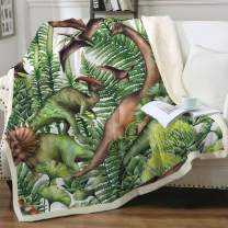"Sleepwish Realistic Watercolor Dinosaurs Blanket Dino in The Forest 3D Sherpa Plush Blanket Cartoon Green Jungle Plants Reversible Soft Fleece Blanket for Couch Sofa and Bed Twin(60""x80"")"