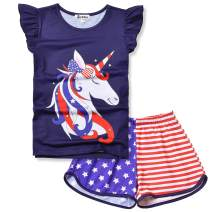 Jxstar Girls Pajamas Sets Unicorn Pjs Flutter Sleeve Night Shirts for Kids