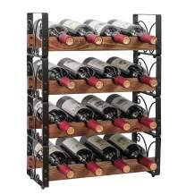 "X-cosrack Rustic 16 Bottles Stackable Wine Rack 4 Tier Freestanding Organizer Holder Stand Countertop Liquor Storage Shelf Solid Wood & Iron 16.5"" L x 7.0"" W x 22"" H-Patent Design"
