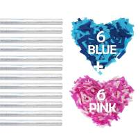 Battife Gender Reveal Confetti Sticks 6Pink+6Blue Biodegradable Tissue Paper Confetti Flick Flutter Wands for Baby Shower Girl of Boy Party, 14inch