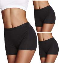 SWOMOG Women's 3 Packs Workout Yoga Boyshorts Stretch Exercise Dance Shorts Boxer Briefs