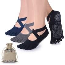 Ozaiic Yoga Socks for Women with Grips, Non-Slip Five Toe Socks for Pilates, Barre, Ballet, Fitness