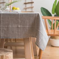 ColorBird Solid Embroidery Lattice Tablecloth Cotton Linen Dust-Proof Checkered Table Cover for Kitchen Dinning Tabletop Decoration (Rectangle/Oblong, 52 x 102 Inch, Grey)