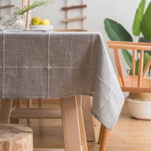 ColorBird Solid Embroidery Lattice Tablecloth Cotton Linen Dust-Proof Checkered Table Cover for Kitchen Dinning Tabletop Decoration (Rectangle/Oblong, 52 x 70 Inch, Gray)